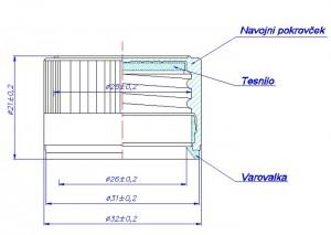 Tehnična risba - pokrovček 28mm