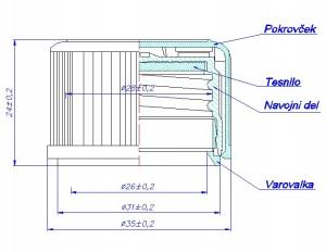 Tehnična risba - pokrovček 28mmc z otroško zaščito